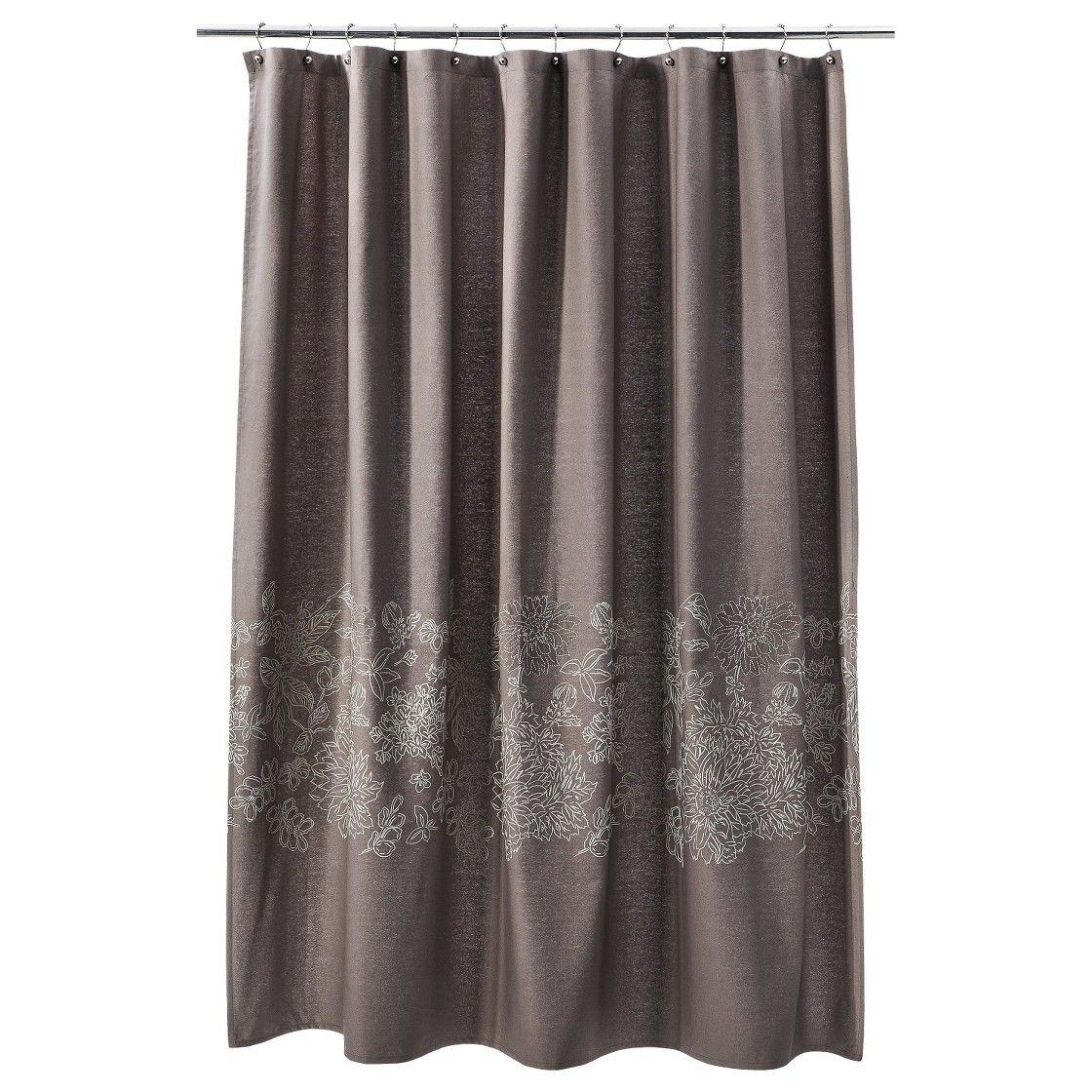 Threshold floral shower curtain brown linen basement