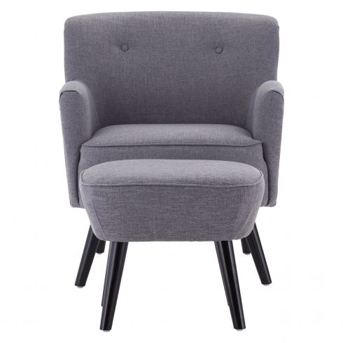 Grey Fabric Armchair With Ottoman