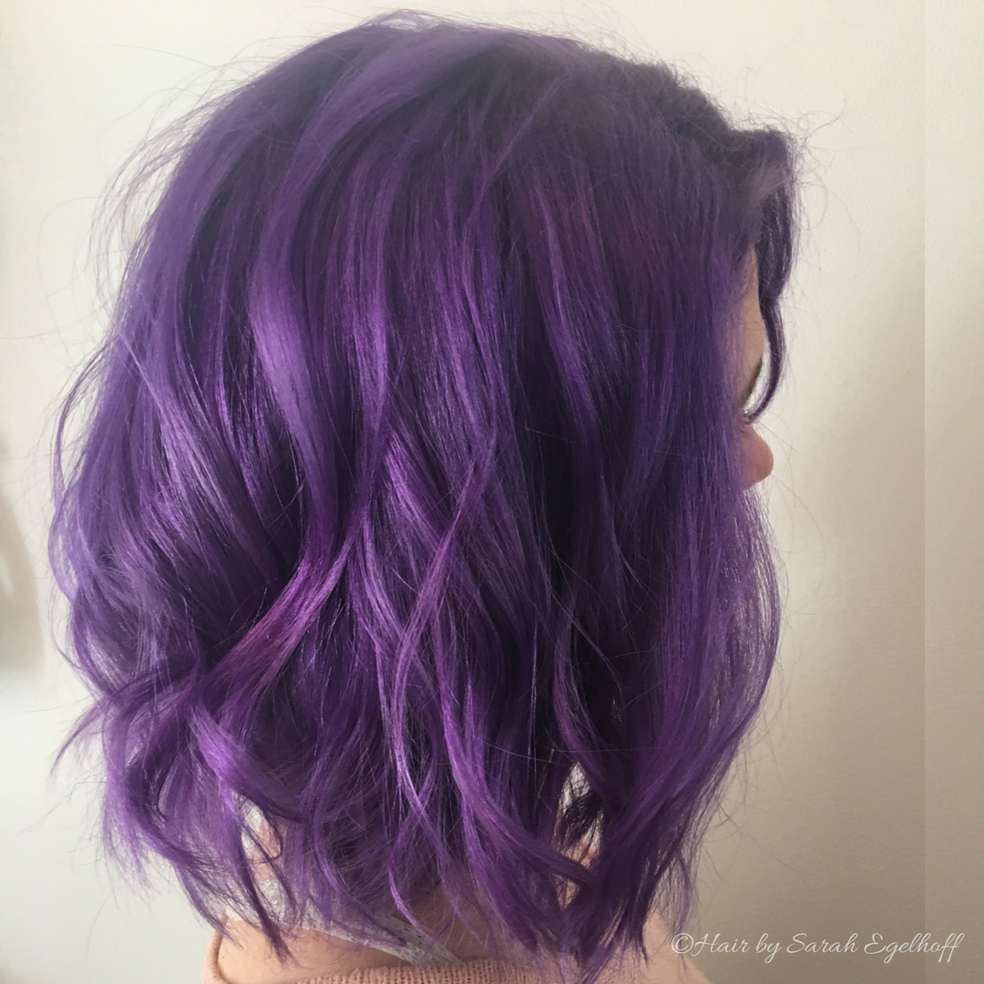 Purple hair don't care....Redken City Beats East Village Violet Tousled Lob by Sarah Egelhoof at Roots Southern Salon in Historic Savannah Georgia.
