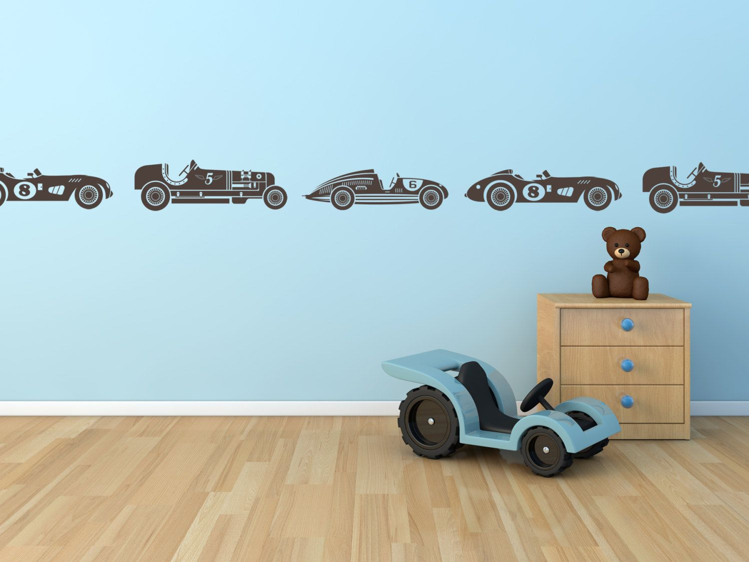 Vintage Race Cars For Boys Border Or Childs Room By StickerHog - Wall decals carsracing car wall decal ideas for the kids pinterest wall