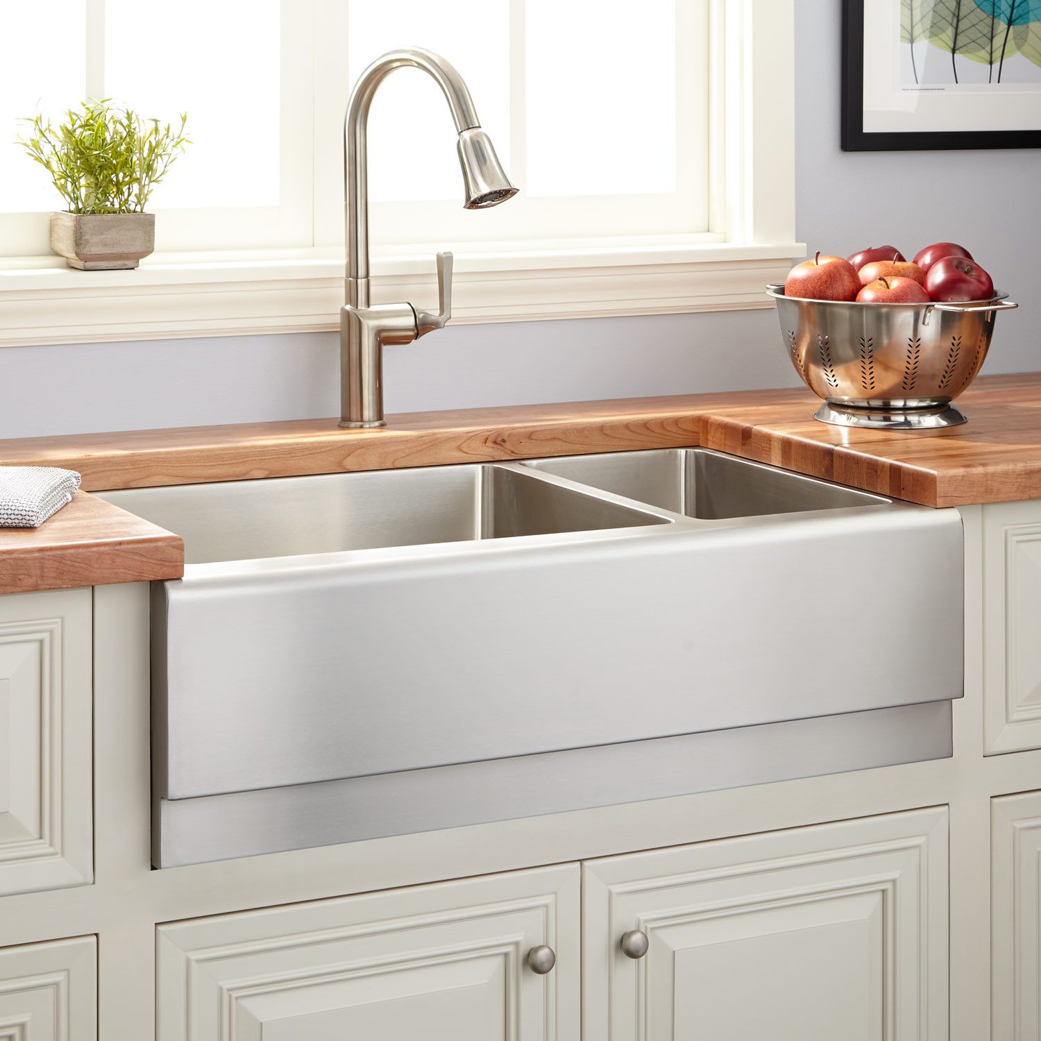 33 Piers 70 30 Offset Double Bowl Stainless Steel Farmhouse Sink Beveled Apron Kitche Stainless Steel Farmhouse Sink Farmhouse Sink Kitchen Farmhouse Sink