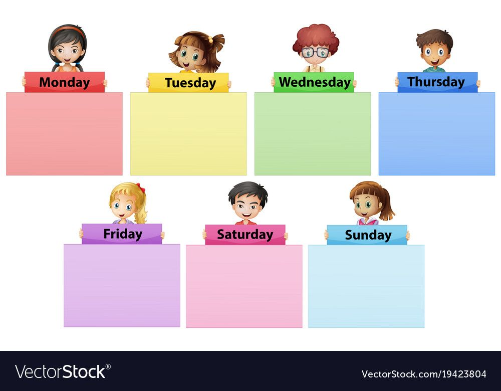 Happy Children And Seven Days Of The Week Illustration Download A Free Preview Or High Quality Adobe Illustrator Ai Happy Children S Day Happy Kids Child Day
