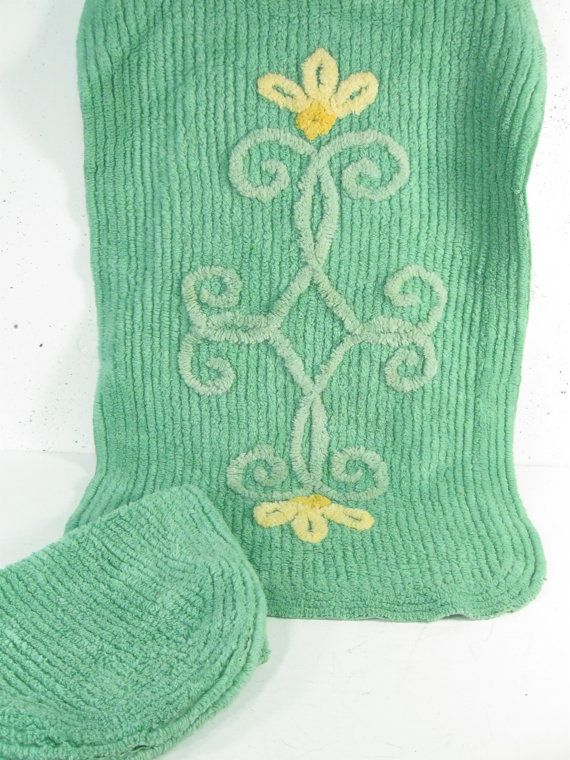 Exceptional Vintage Unused Bath Mat, Chenille Bathroom Rug And Toilet Cover, Mint Green  Bathroom Decor