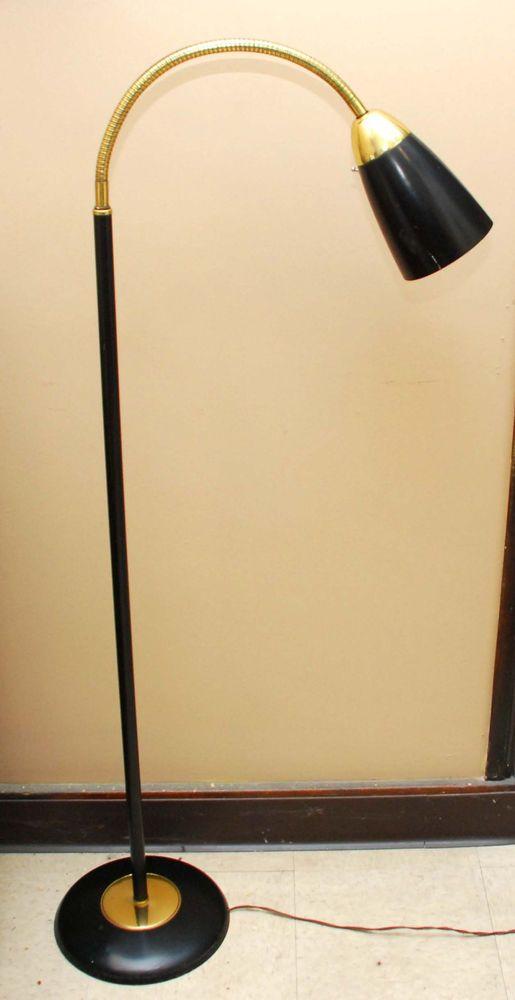 Vintage Gooseneck Floor Lamp Cone Bullet Shade Eames Mid Century