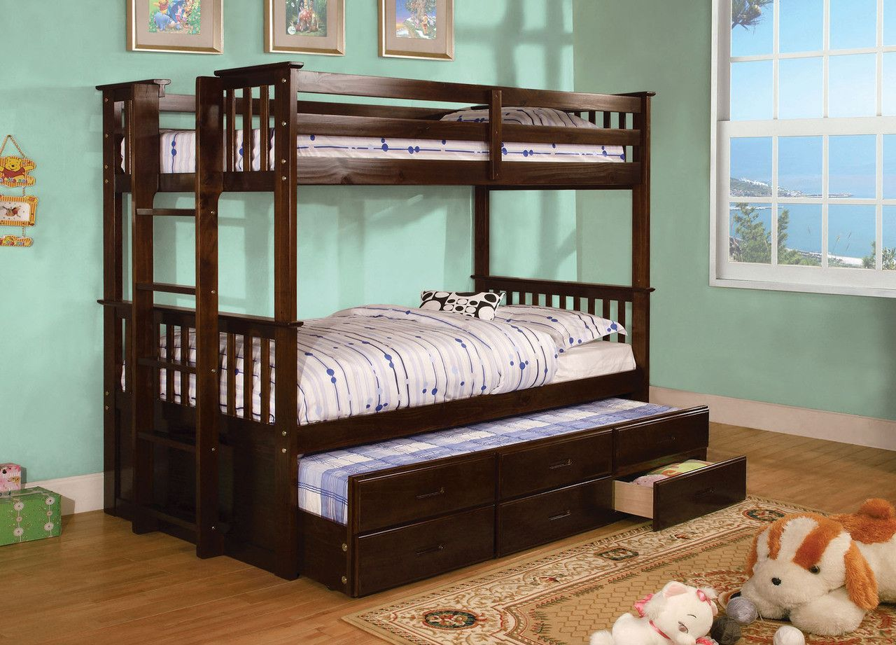 Queen size loft bed with stairs  UNIVERSITY II CMBKTEXP  EXP FINISH This space saving twin over
