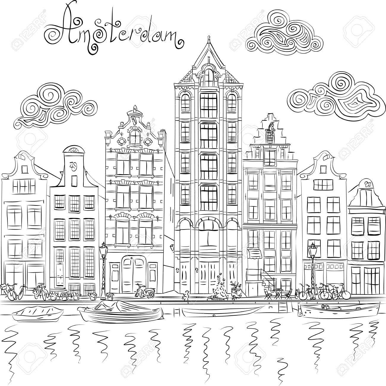 Zwart En Wit Hand Tekening Uitzicht Op De Stad Van De Amsterdamse Gracht En Typische Huizen Holland Nederland Stad Tekening Stad Illustratie Handen Tekenen