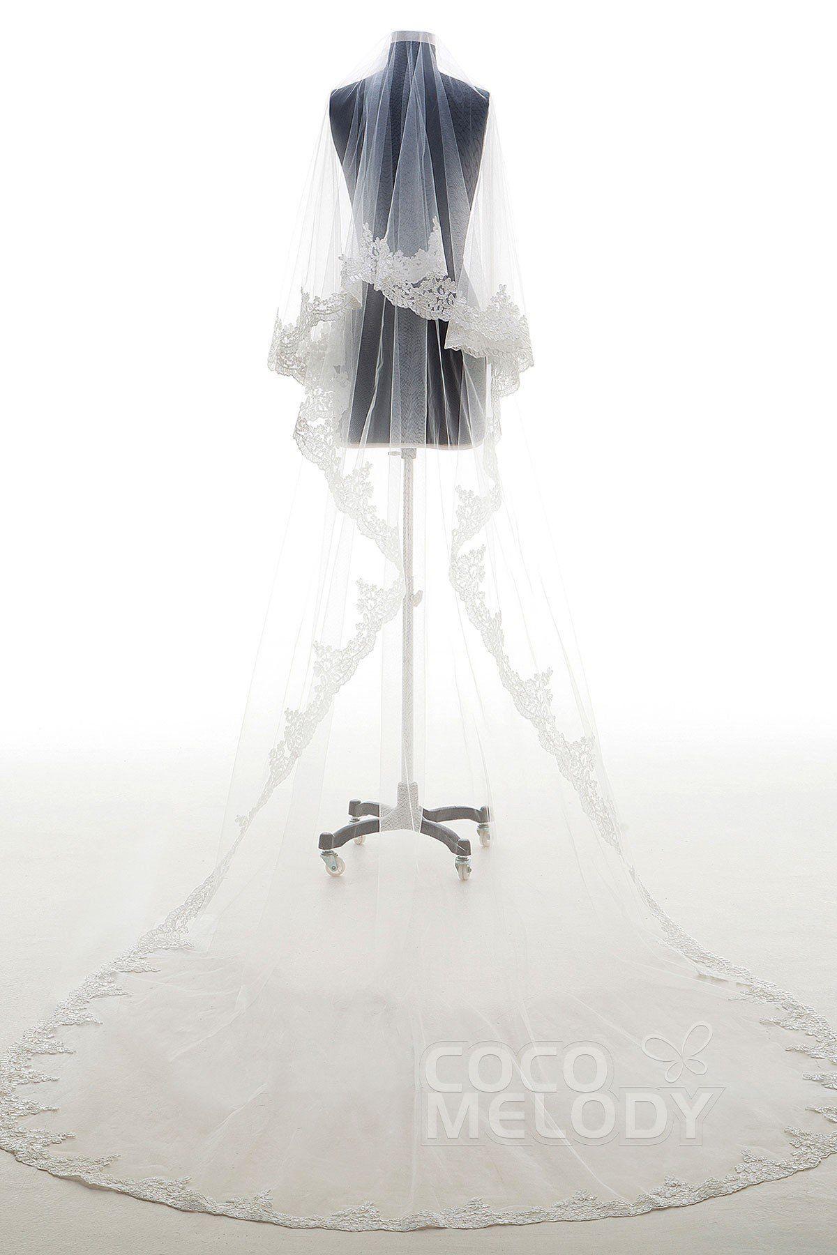Lace wedding dress cheap december 2018 Elegant Twotier Lace Edge Tulle Appliques Chapel Veils AV