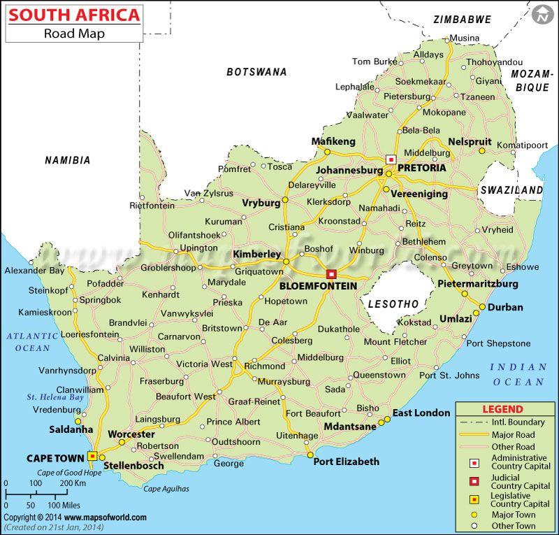 Map Of South Africa With Towns South Africa Road Map | South africa map, Map, South africa travel