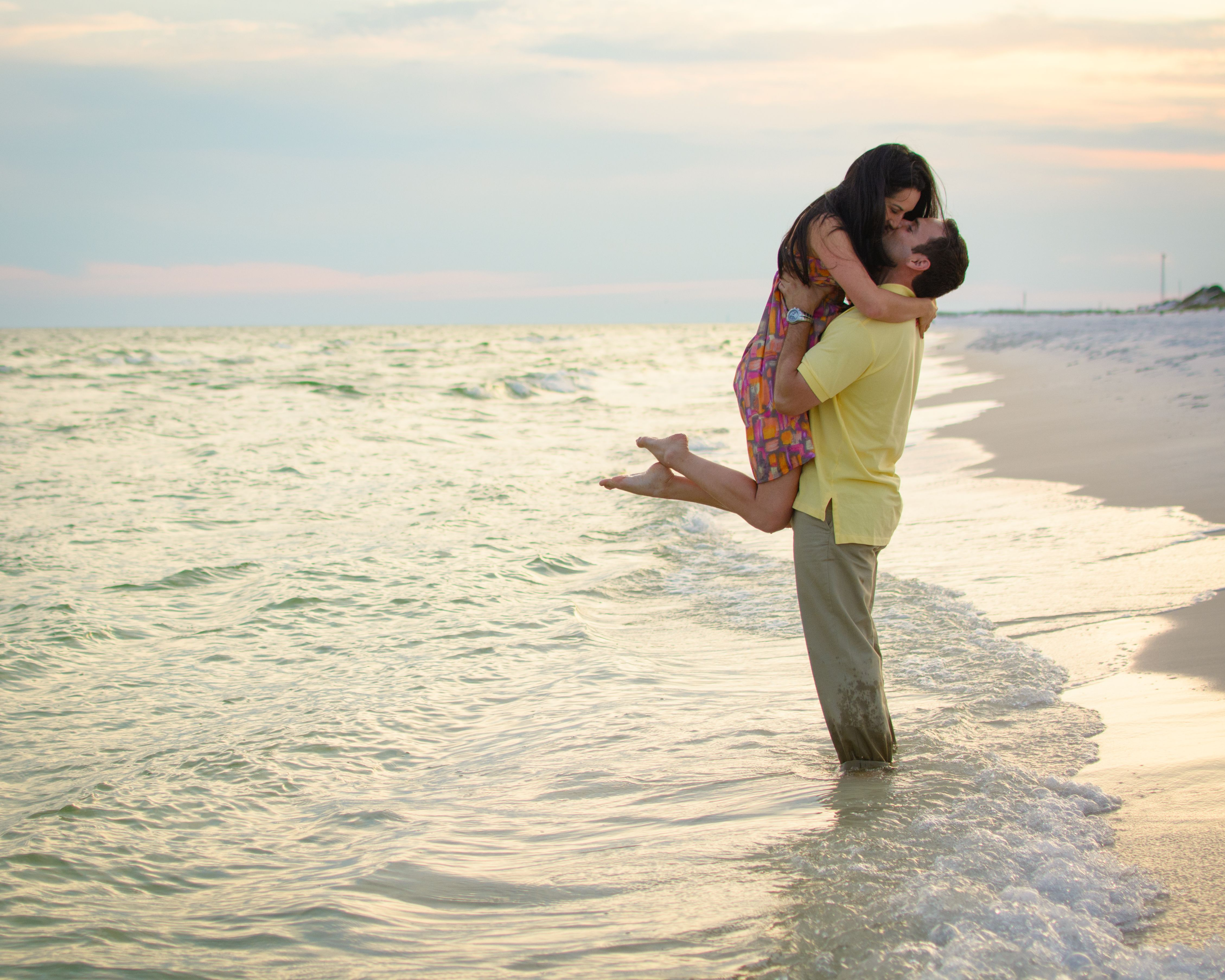 Such a beautiful couple #beach #kiss #sunset #engaged