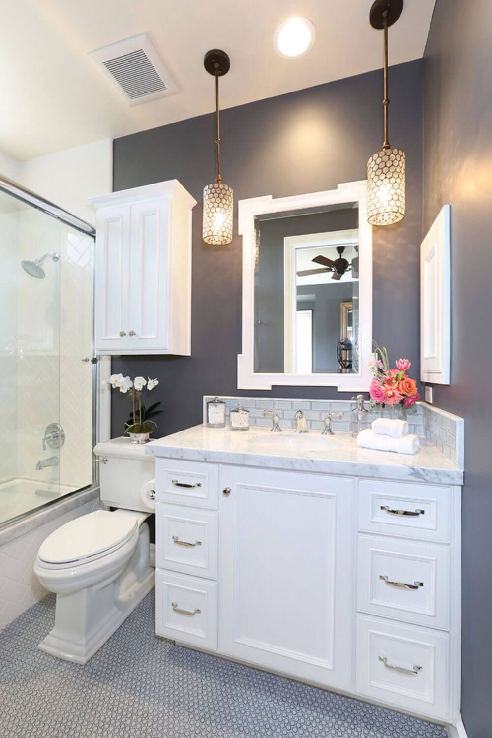 Uncluttered Color Scheme In Dark Gray And White Bathroom Remodel Small Remodeling