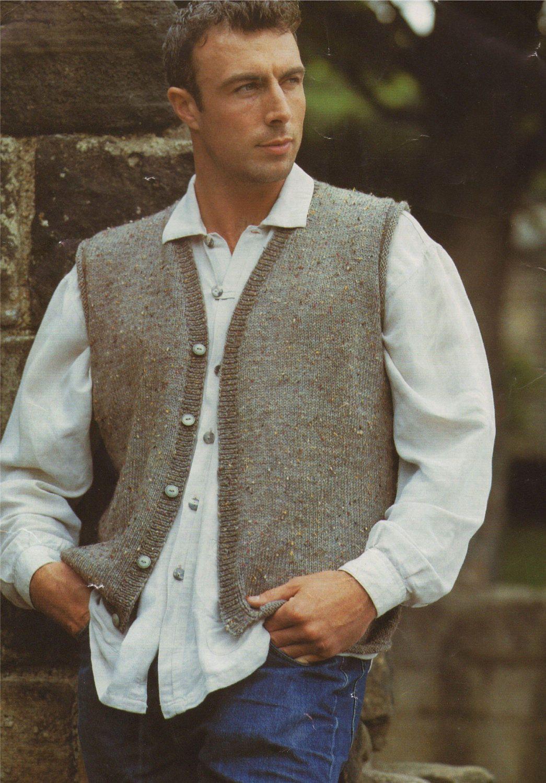 Mens Waistcoat PDF Knitting Pattern : Mans 36, 38, 40, 42, 44 and 46 ...