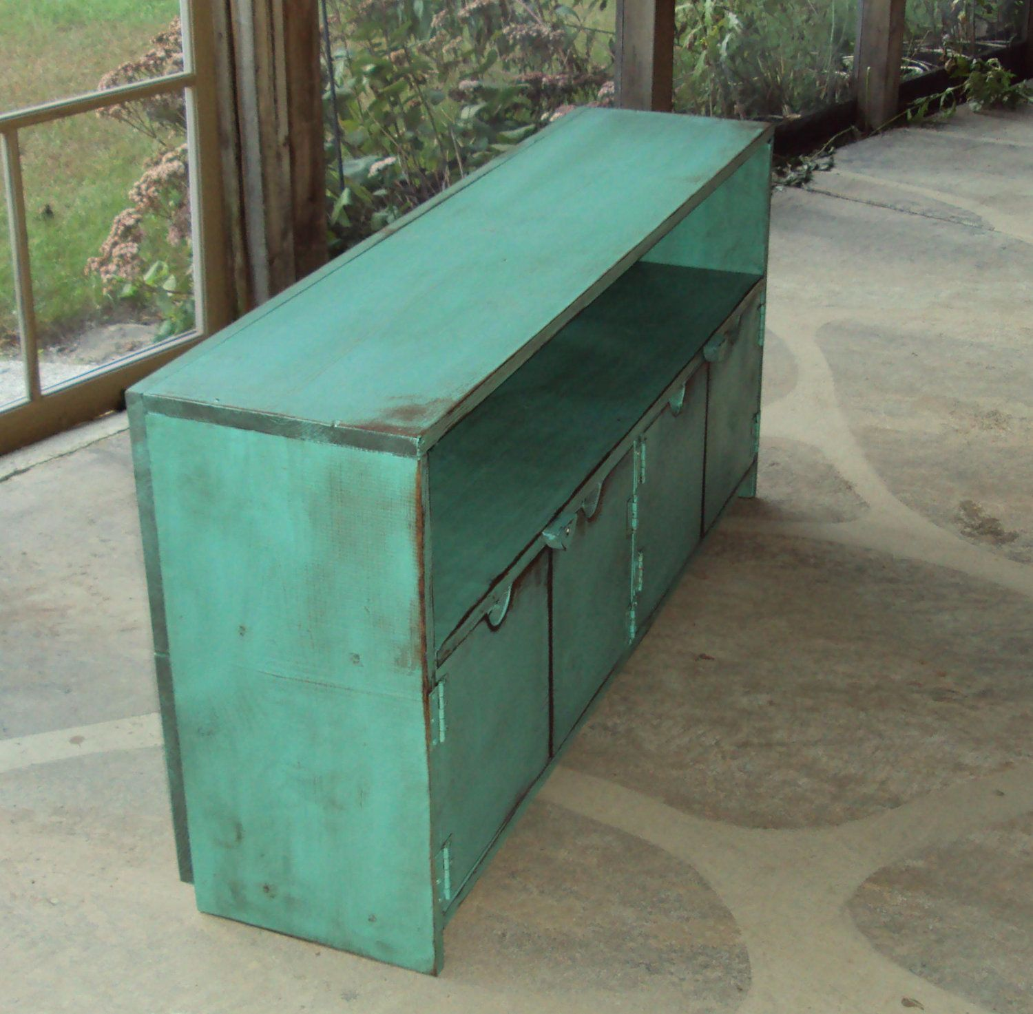 Reclaimed TV Cabinet Storage Bench 48 Wide Shabby By USAcreations, $350.00