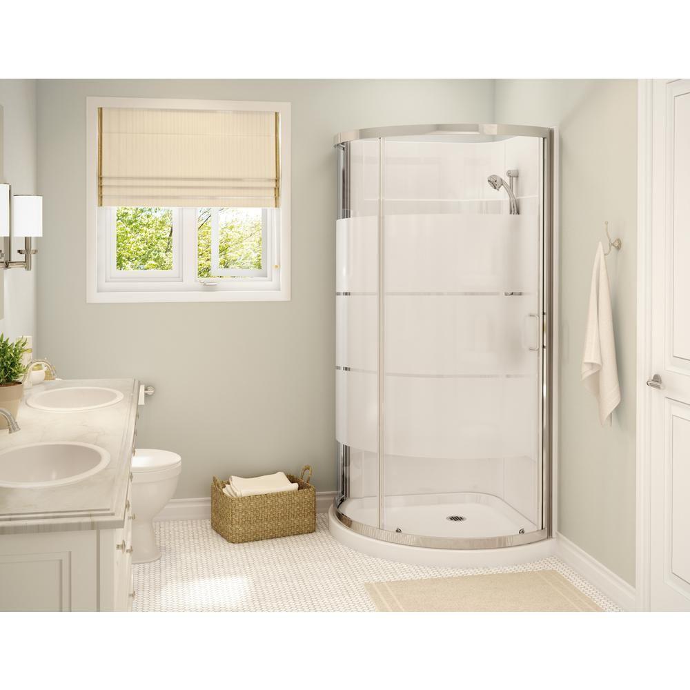Maax Cyrene 34 In X 76 In Off Center Corner Shower Kit W Semi Frameless 3 Stripes Sliding Door Base Wall Kit In White Chrome 300001 000 001 103 The Home Depo In 2020 Corner Shower Kits Corner Shower Shower