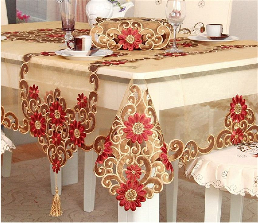 Ustide European Style Table Cloth Rustic Fl Pattern Tablecloth For Christmas Hand Embroider Flower Decoration Transpa Pad Wide By Long