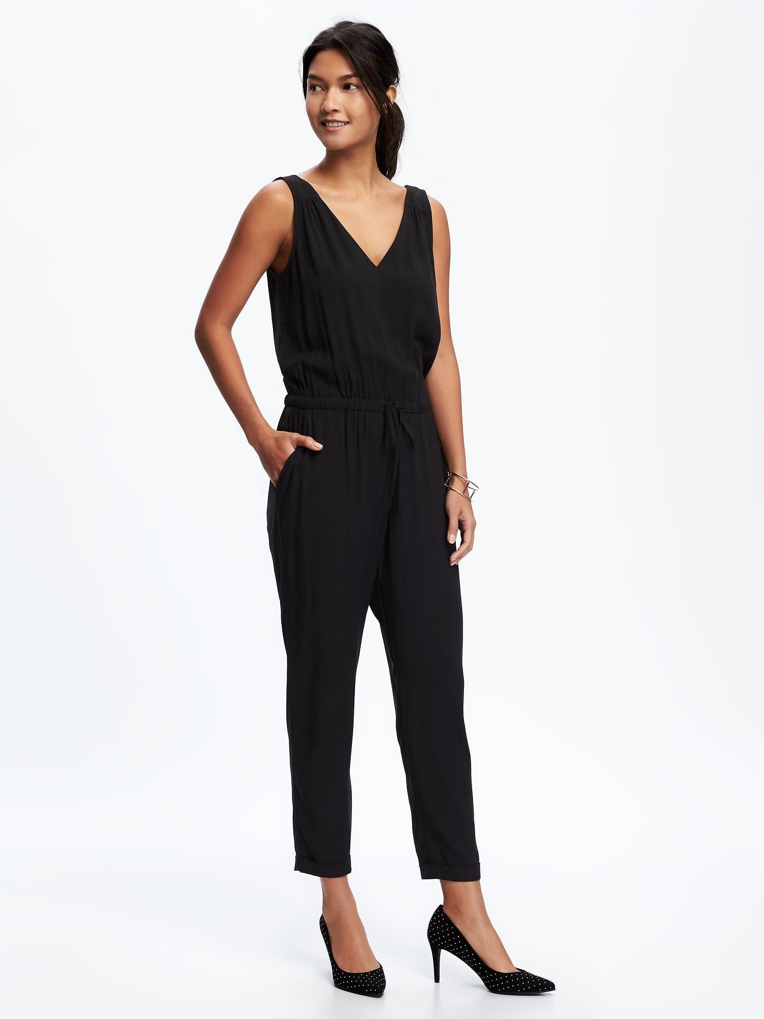 f027812b3 V-Neck Jumpsuit for Women | Old Navy | All Black Everything ...