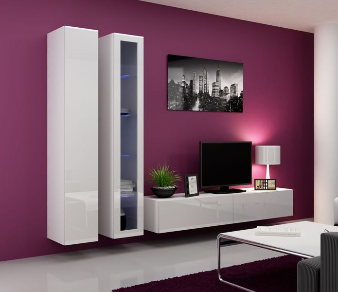 stand tv design ideas with white hanging book shelves and modern black flat panel tv also wonderful city paint on elegant purple wall