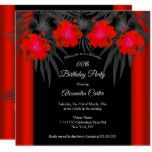 Red Black Palms Hibiscus Tropical Birthday Party Invitation | Zazzle.com #tropicalbirthdayparty
