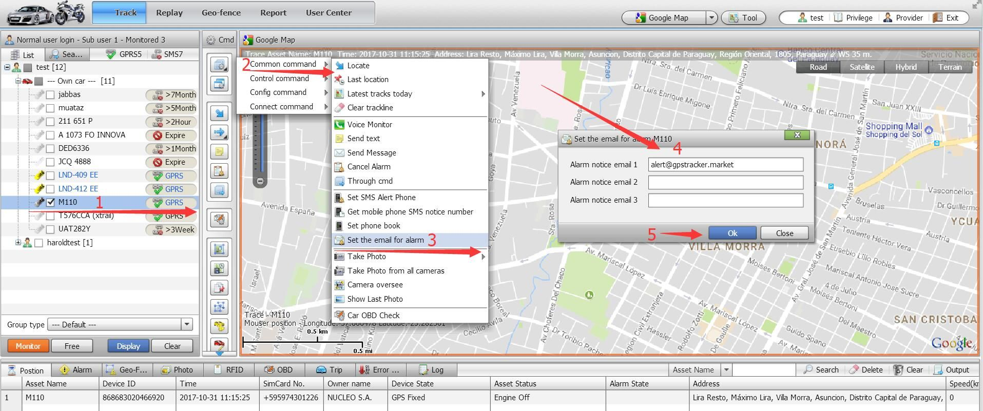 Receive GPS tracking device alert message by email not just see it
