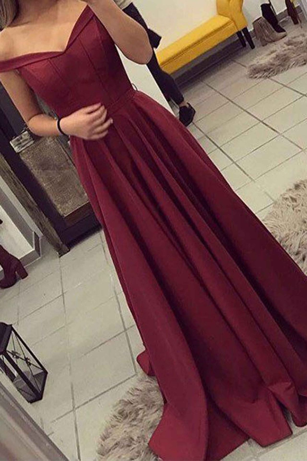 Elegant wine red chiffon prom dress evening gown off the shoulder