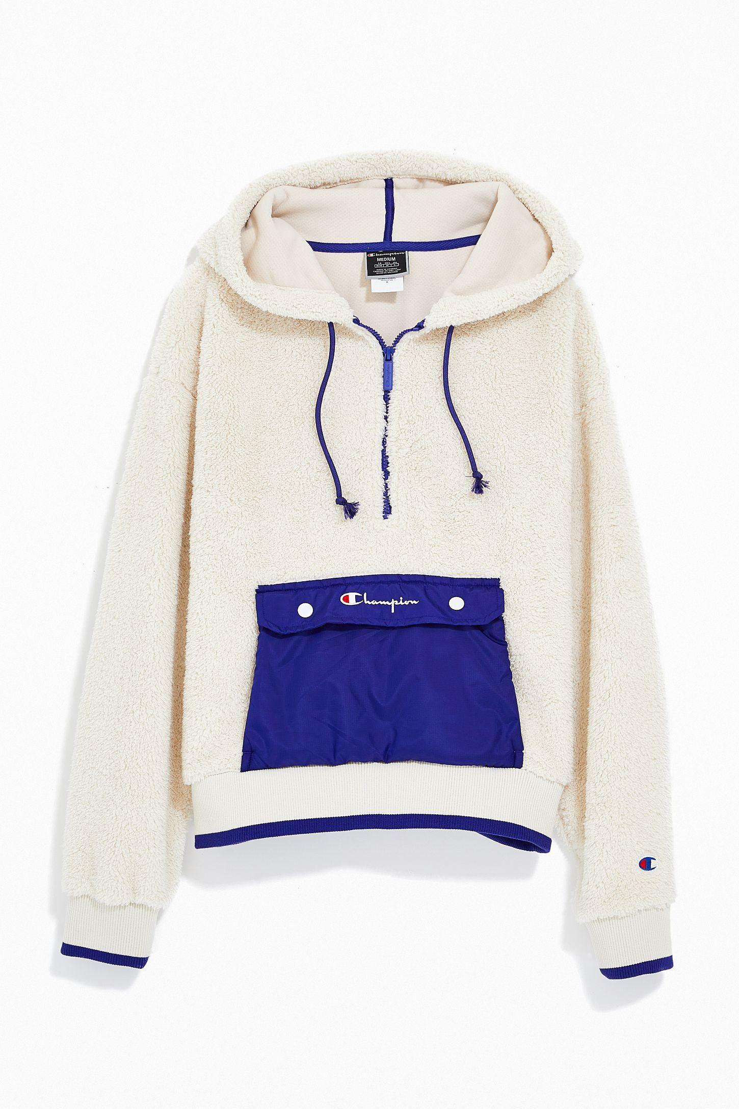 Champion Uo Exclusive Sherpa Half Zip Sweatshirt Urban Outfitters Half Zip Sweatshirt Nike Fleece Jacket Comfortable Fall Outfits [ 2175 x 1450 Pixel ]