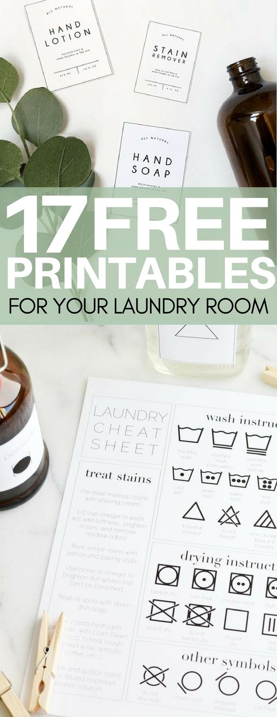 17 Free Printables to Organize Your Laundry Room   Free label ...
