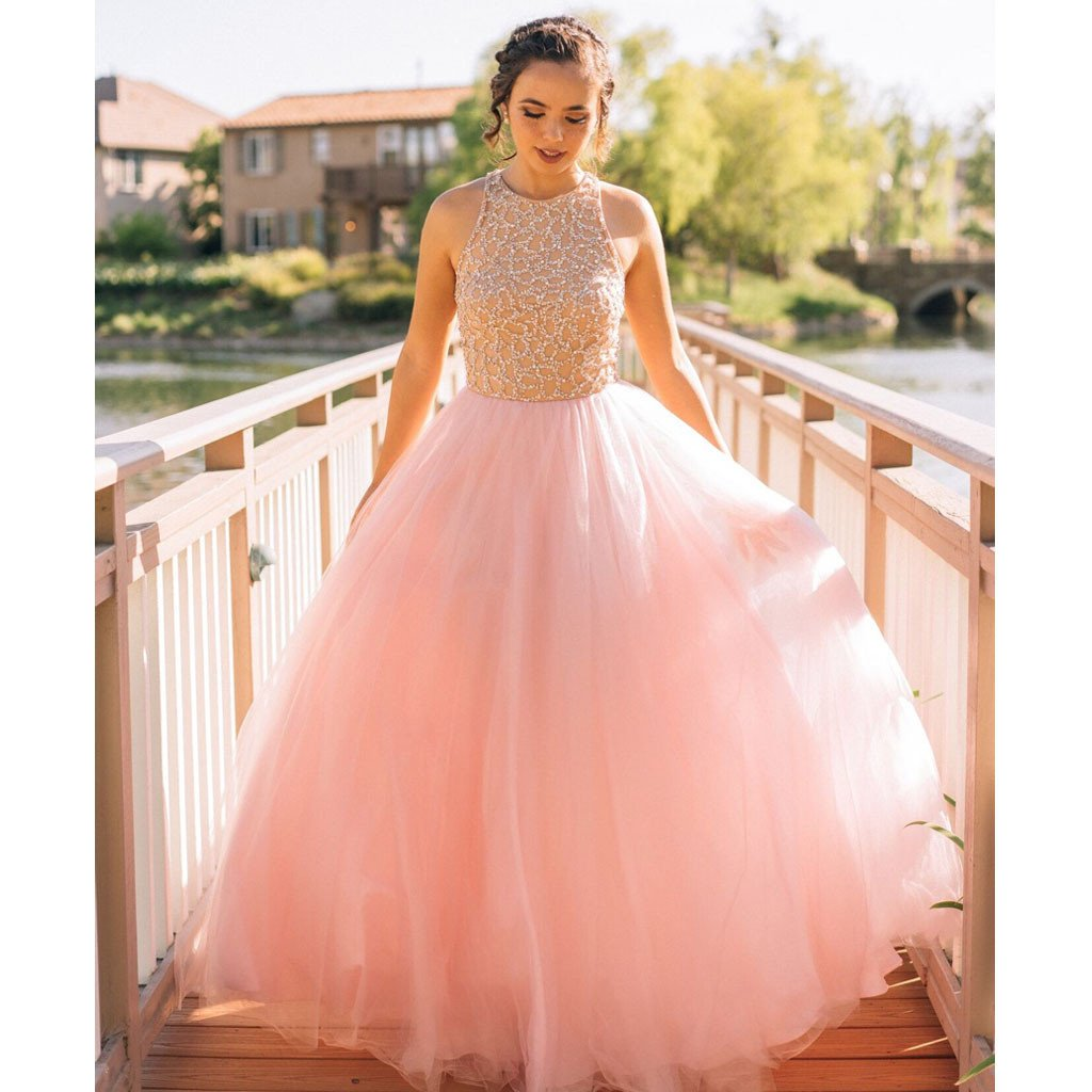Charming Pink Junior Elegant Fashion Online Long Prom Dresses