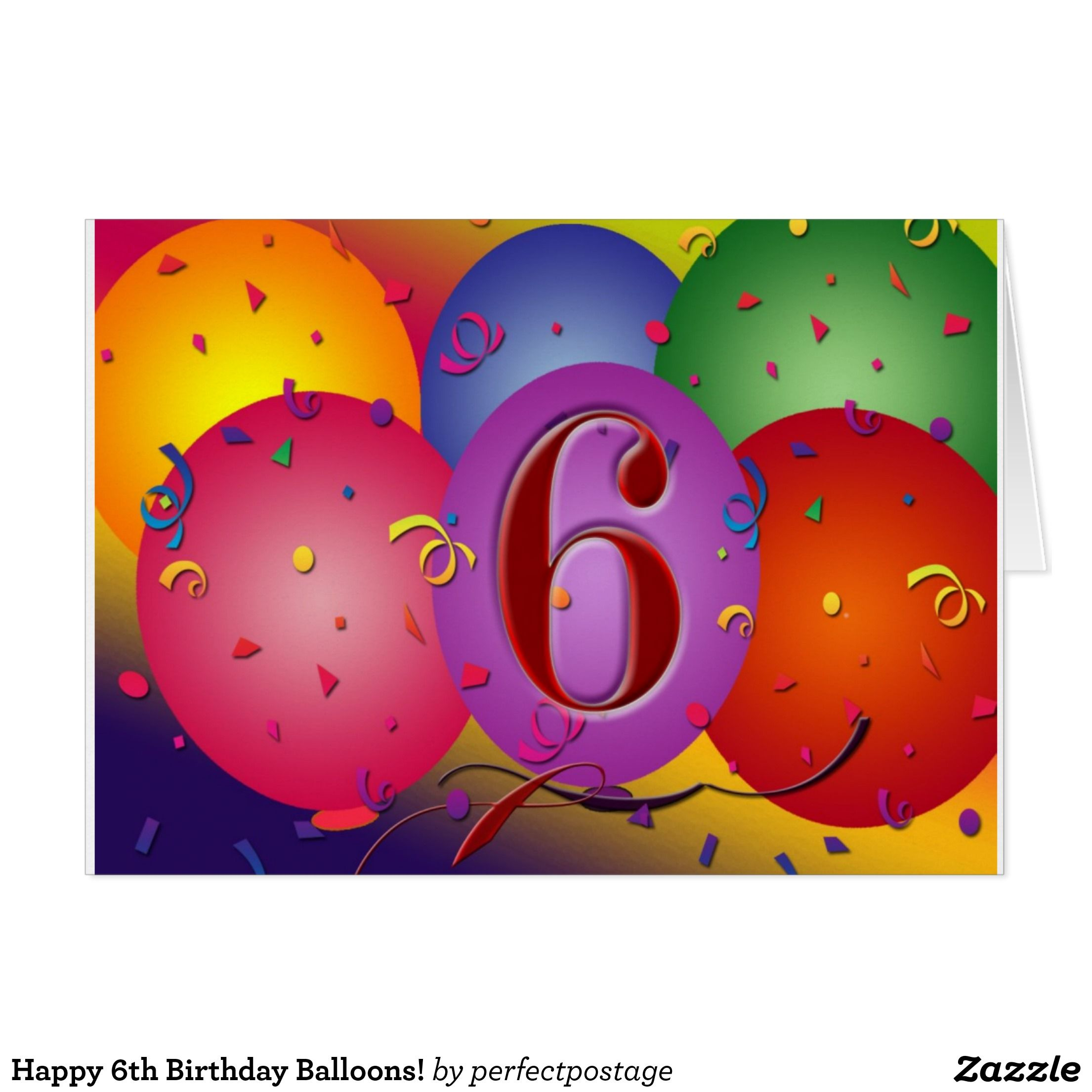 Happy 6th Birthday Balloons Card