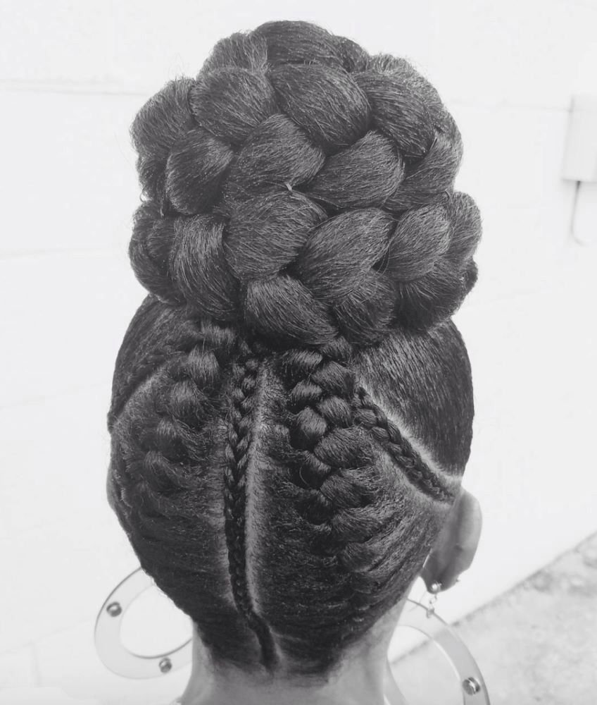 pinterest:@jalissalyons | braided ponytails & buns | african