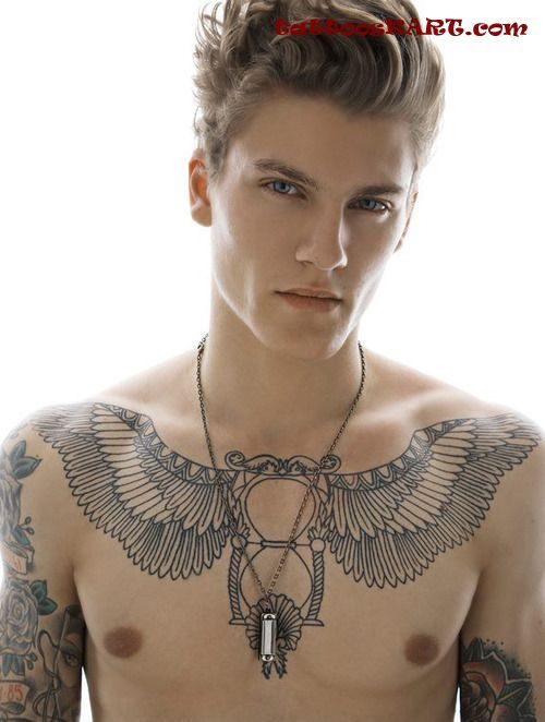 Under Breast Tattoo Wings Chest tattoos | Face and body ...