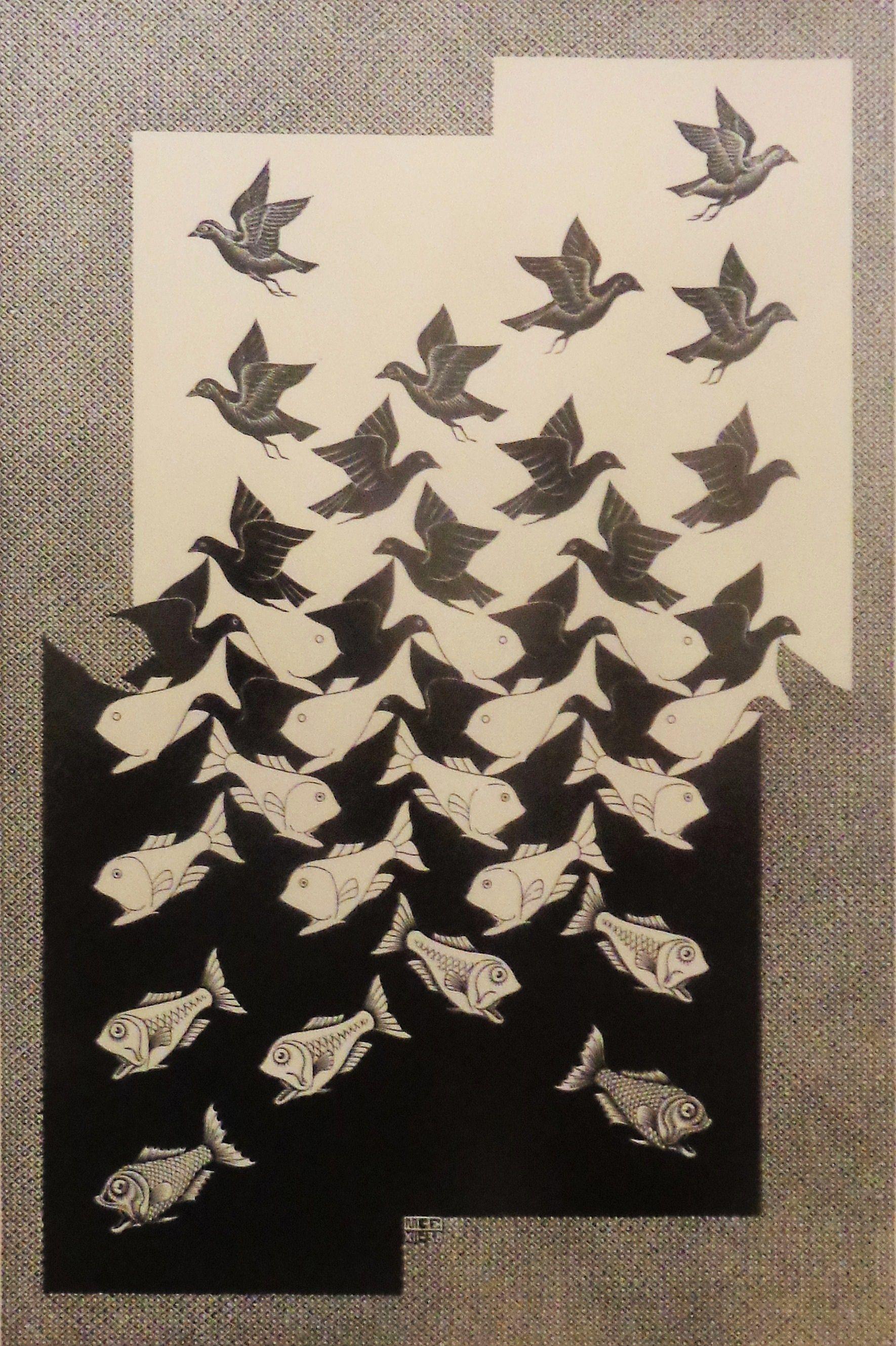 'Lucht en water II' door M.C. Escher uit 1938.