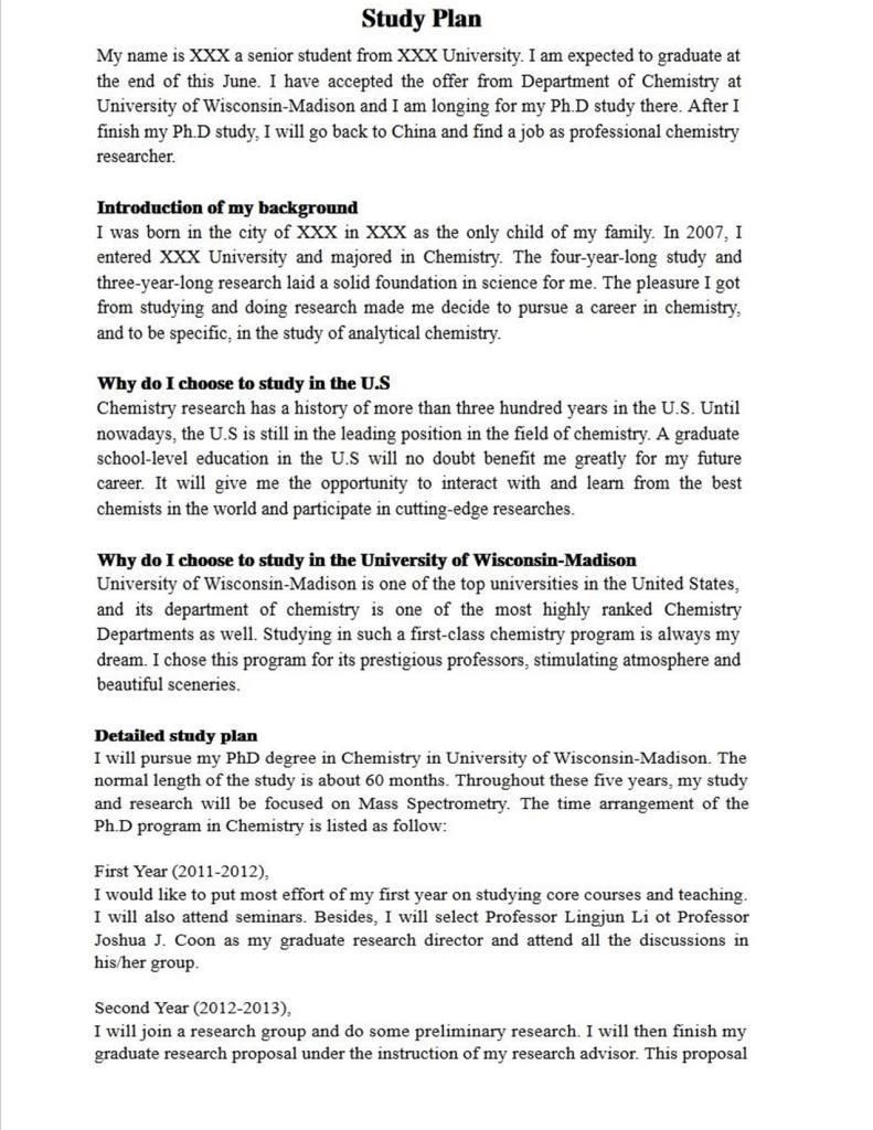 Study Plan Sample Copy Template In China International Relation Essay Question