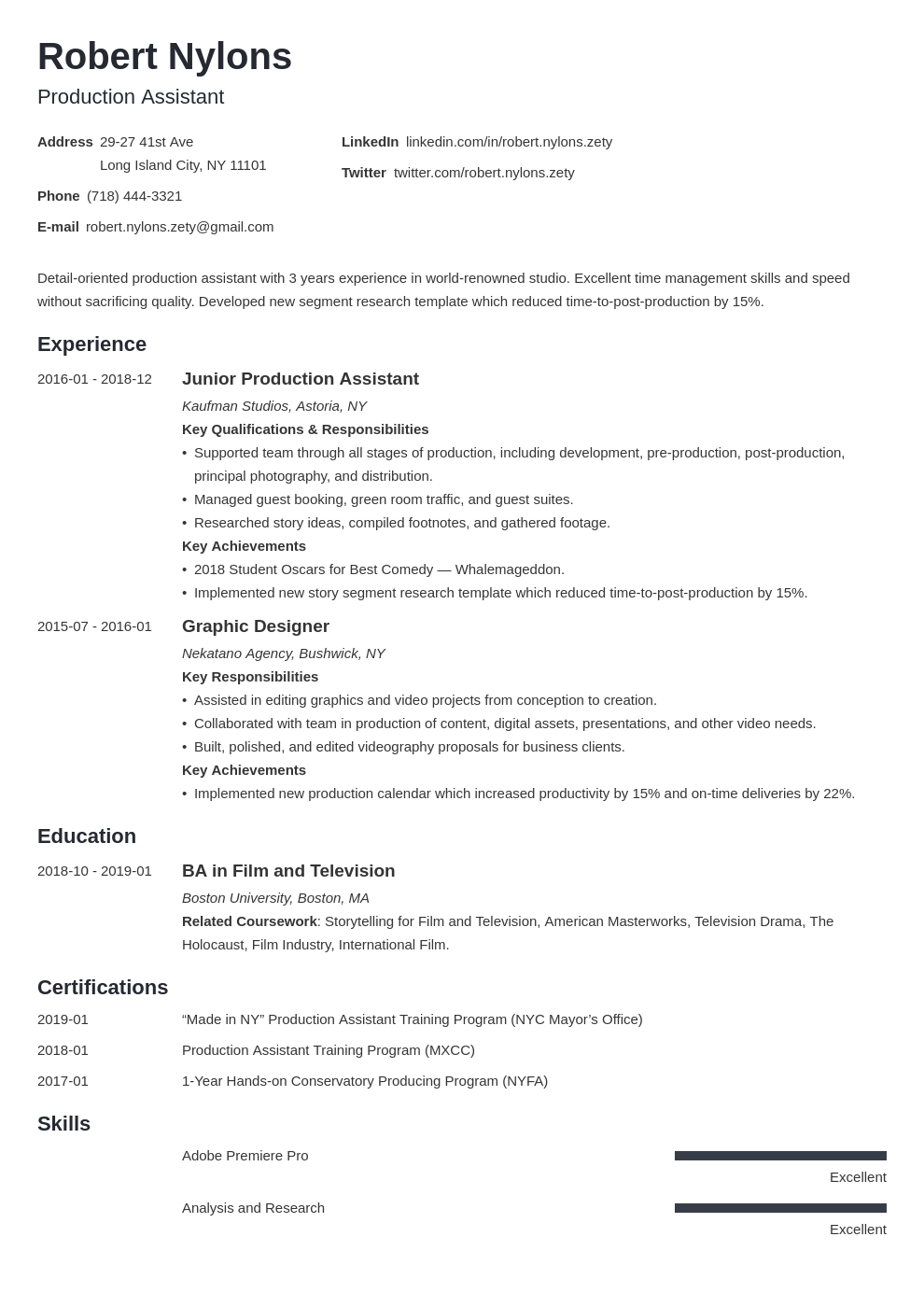 Production Assistant Resume Example Template Minimo Resume Examples Job Resume Examples Resume