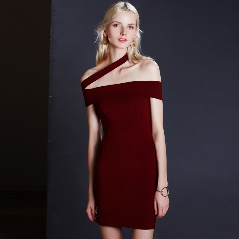 High Quality Fashion Summer Sexy Halter Neck Strapless Slim Women Slash Neck Sheath Dresses Women Black Red Party Dresses *** Continue to the product at the image link.