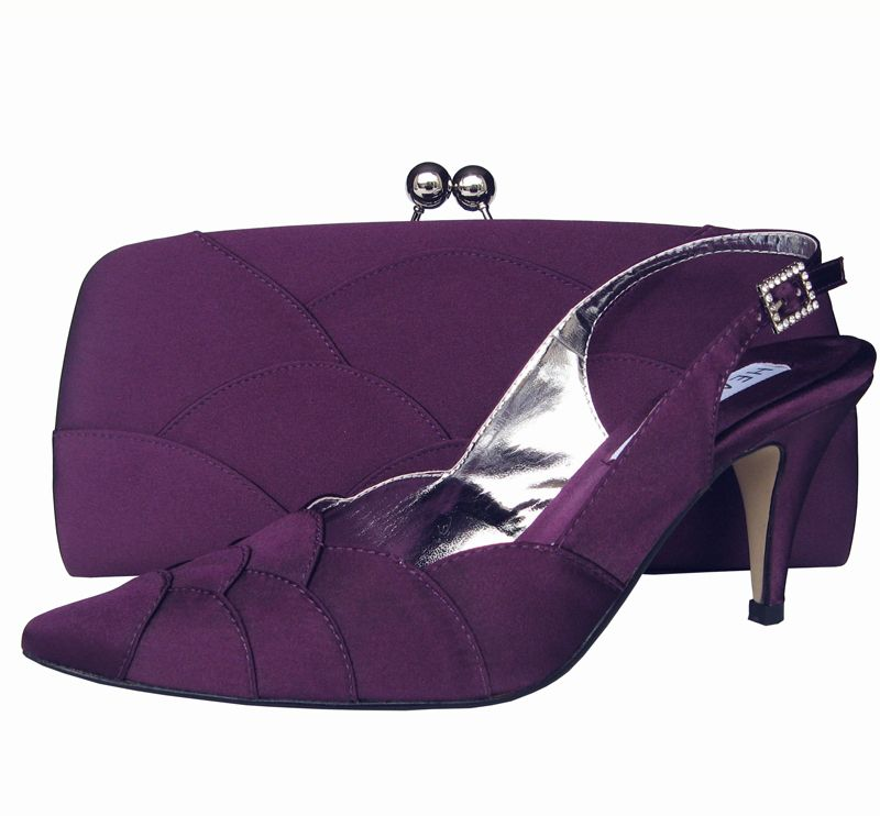 Aubergine Purple Ladies Shoes Evening And Matching Bag