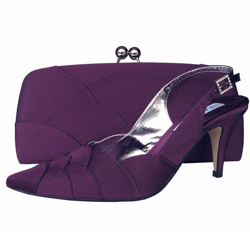 0bed02370 purple satin matching evening bag and shoes, vegan | Aubergine Purple Ladies  Shoes | Sole Divas -