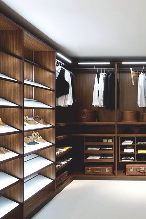 Interior Design Walk In Wardrobe Closet: Custom Built Walnut Wooden Shoe  Rack Shelves, Hanging