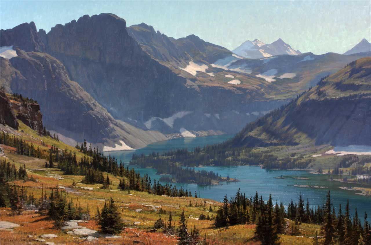 Hidden Lake Montana Landscape Mountain Landscape Painting Colorado Landscape