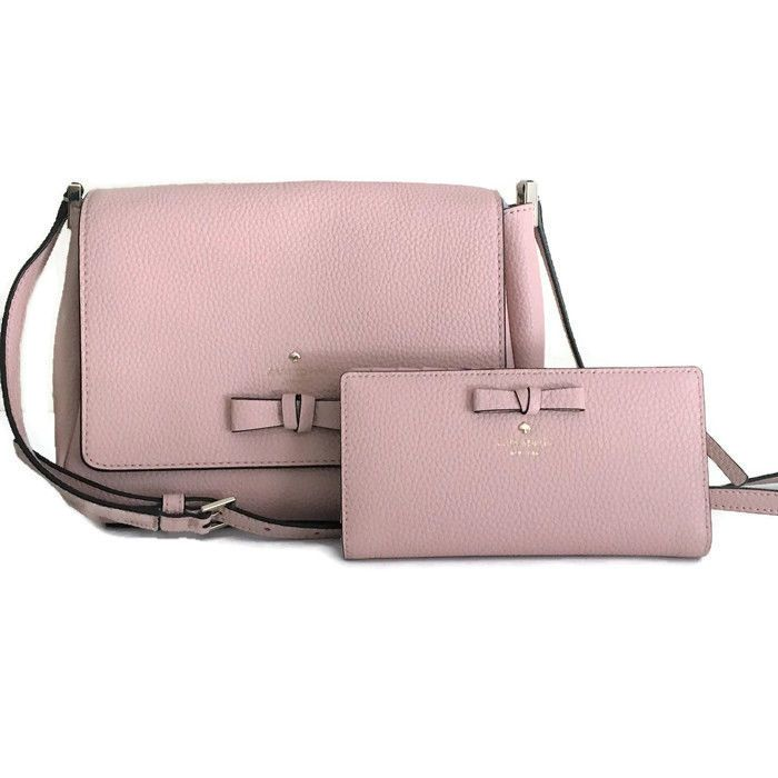 d4f405316ca6ad Kate Spade Avva Bag & Wallet Set Warm Vellum Blush Pink Bow Pershing Street