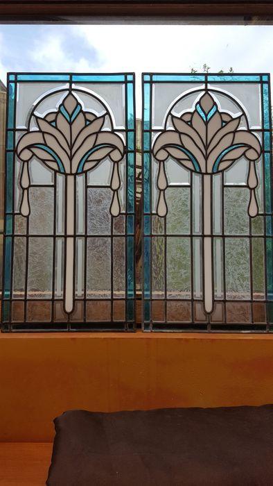 Twee Glas In Lood Ramen In Art Deco Stijl 20e Eeuw Belgie Glas In Lood Deur Glas In Lood Glas