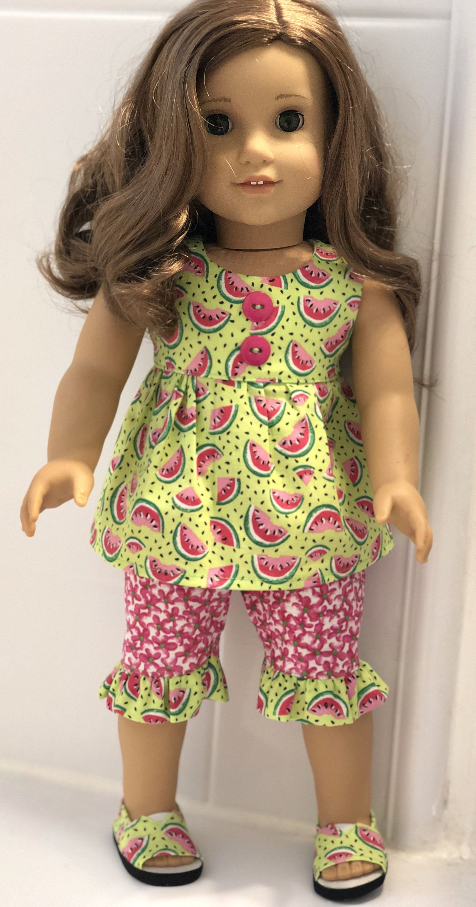 18 Girl Doll Summer Outfit, Watermelon Top, Ruffled Floral Capris, and Matching Shoes For Girl Dolls Such as American Girl #girldollclothes
