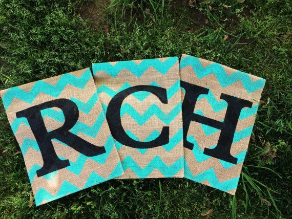 Burlap Garden Flag with Bright Teal Chevron by ModernRusticGirl
