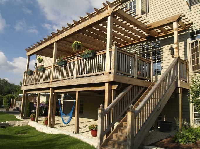 2 Story Descks And Pergolas Story Pergola Backyard