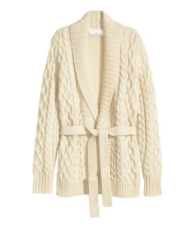 Long-sleeved, cable-knit cardigan in a creamy white wool blend ...