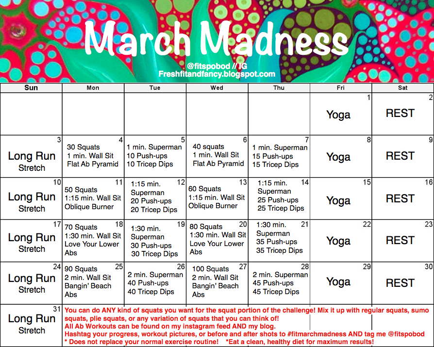 Fresh Fit And Fancy March Madness March Madness March Fitness Challenge March Madness Fitness Challenge