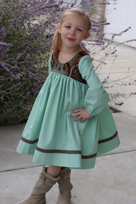 Girls Boho Dress - Girls Hippie Dress - Girls Long sleeve Dress ...