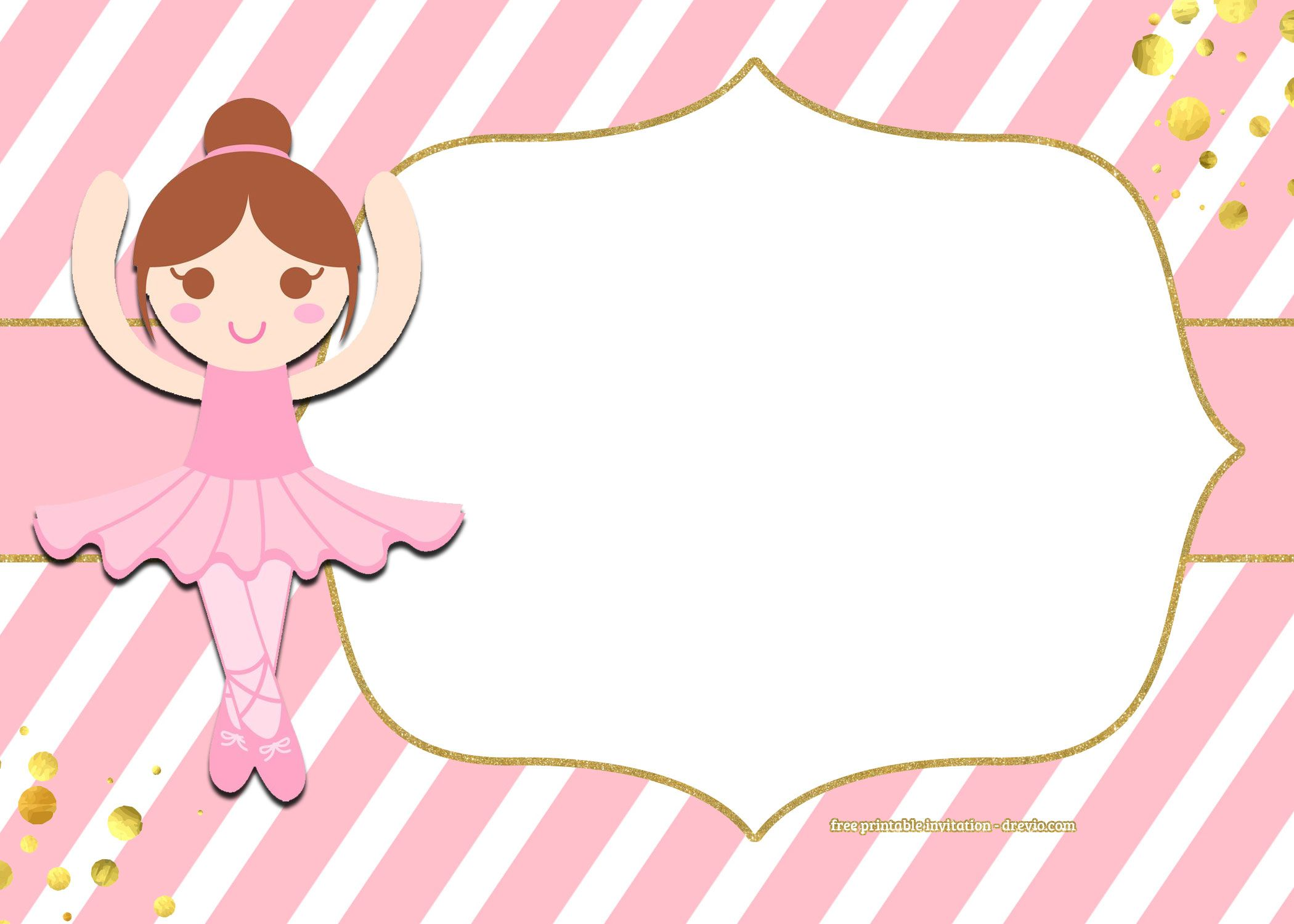 FREE Golden Ballerina Birthday Invitation Templates | Free Printable ...