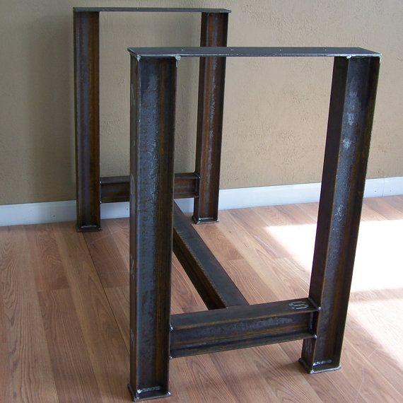 Industrial viga cocina isla mesa bar base rustica patas de - Mesas de cocina rusticas ...