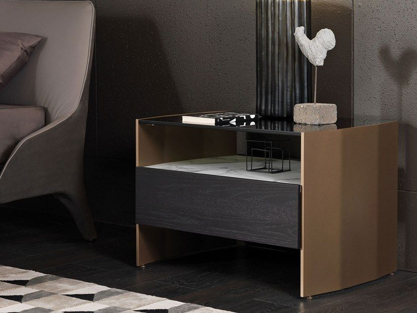 Rectangular Bedside Table With Drawers Milvian Bedside Table By