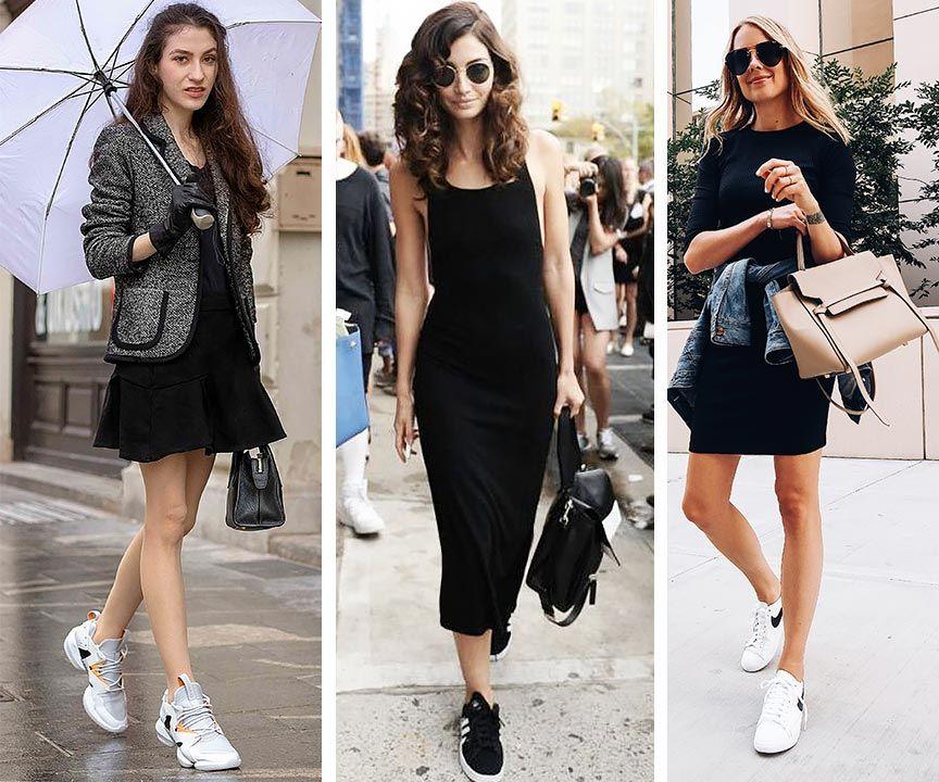 Black dress and sneakers outfits (черное платье с кроссовками, образы) | Платья, Наряды, Наряды для девочек