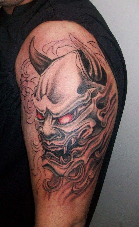 2df6f0c11 Oni Mask Tattoo in Progress | Tattoos | Japanese demon tattoo, Oni ...
